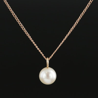 10K Yellow Gold Cultured Pearl Pendant Necklace
