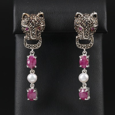 Sterling Cat Motif Drop Earrings with Ruby, Pearl and Marcasite