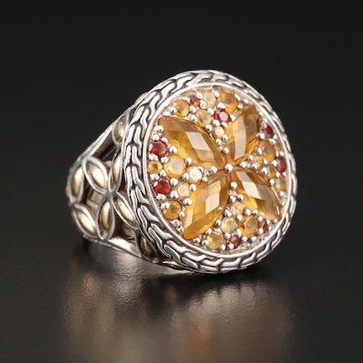 "John Hardy ""Batu Kawung"" Sterling Citrine and Garnet Ring with 18K Gold Accents"