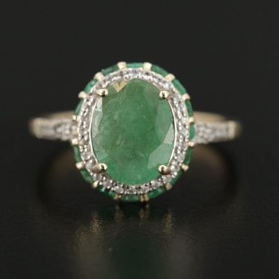 10K Yellow Gold Emerald and Spinel Ring