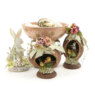 Easter Decor Including Compote Centerpiece with Bunny and Chick Dioramas