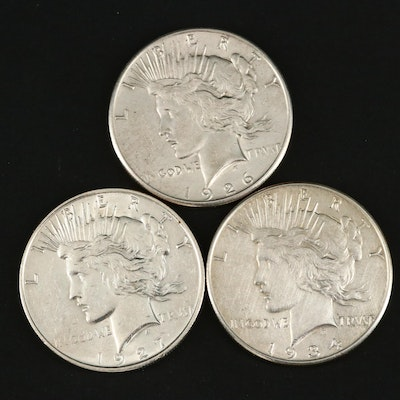 1926-S, 1927-D and 1934 Peace Silver Dollars
