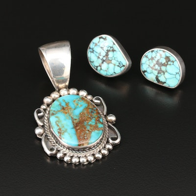 Southwestern Sterling Silver Turquoise Pendant and Earrings