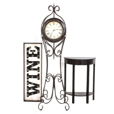 Marquee Wall Sign, Side Table and Wrought Metal Floor Clock, Contemporary