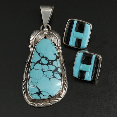 Roie Jaque Navajo Sterling Silver Turquoise and Black Onyx Earrings and Pendant