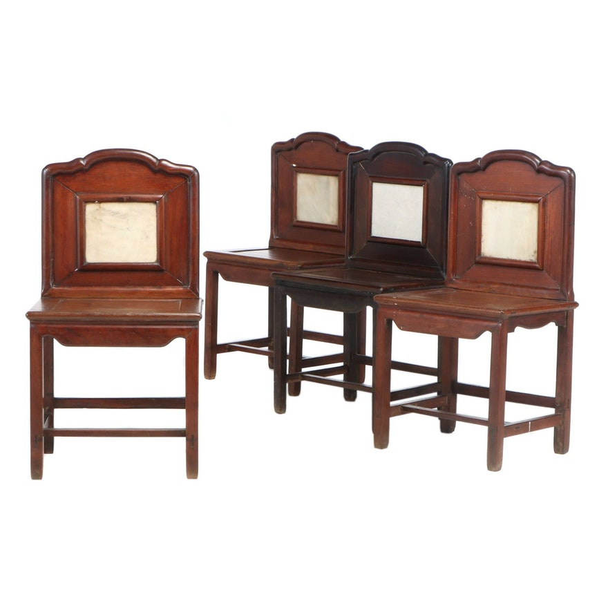 Four Chinese Side Chairs with Stone Panel Backs, Early 20th Century