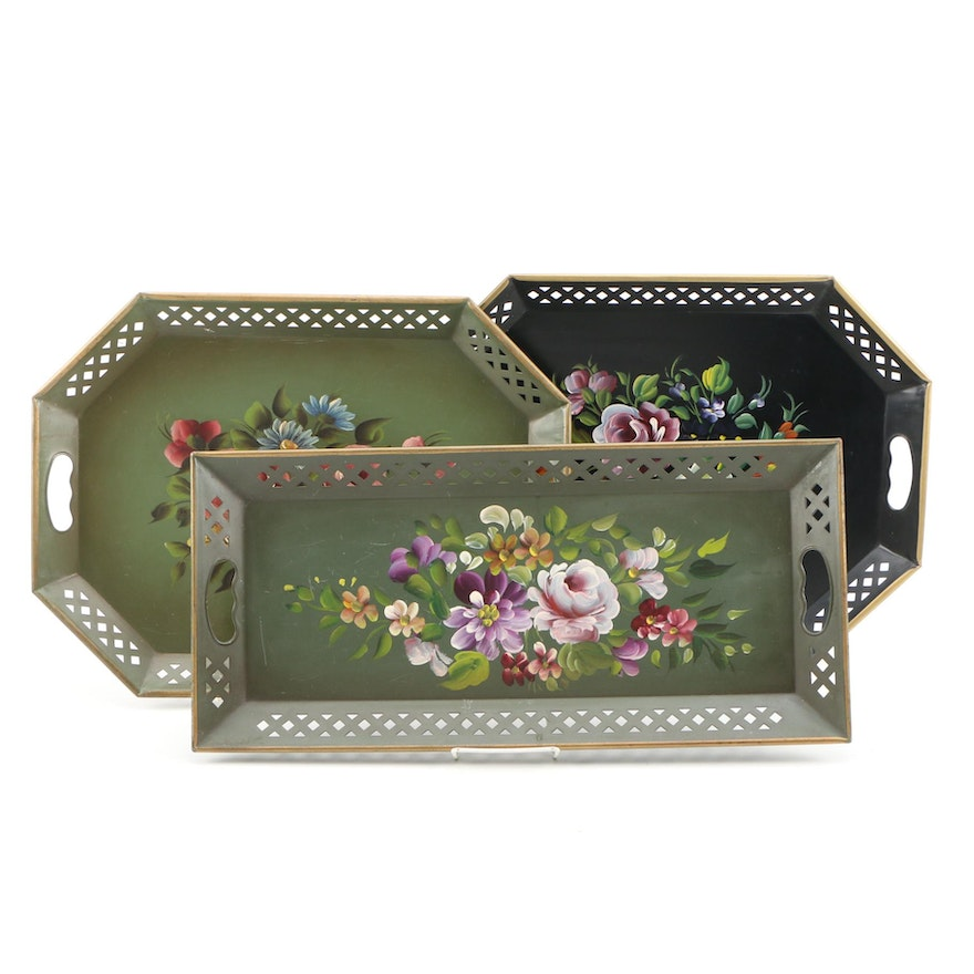 Nascho New York Hand-Painted Pierced Metal Trays, Contemporary