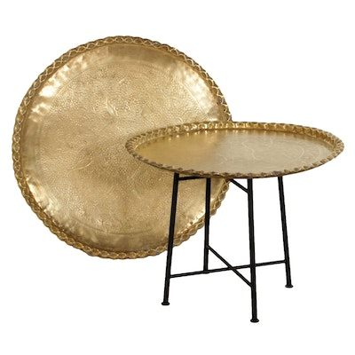 Hand-Chased Decorative Middle Eastern Brass Top Tray Table
