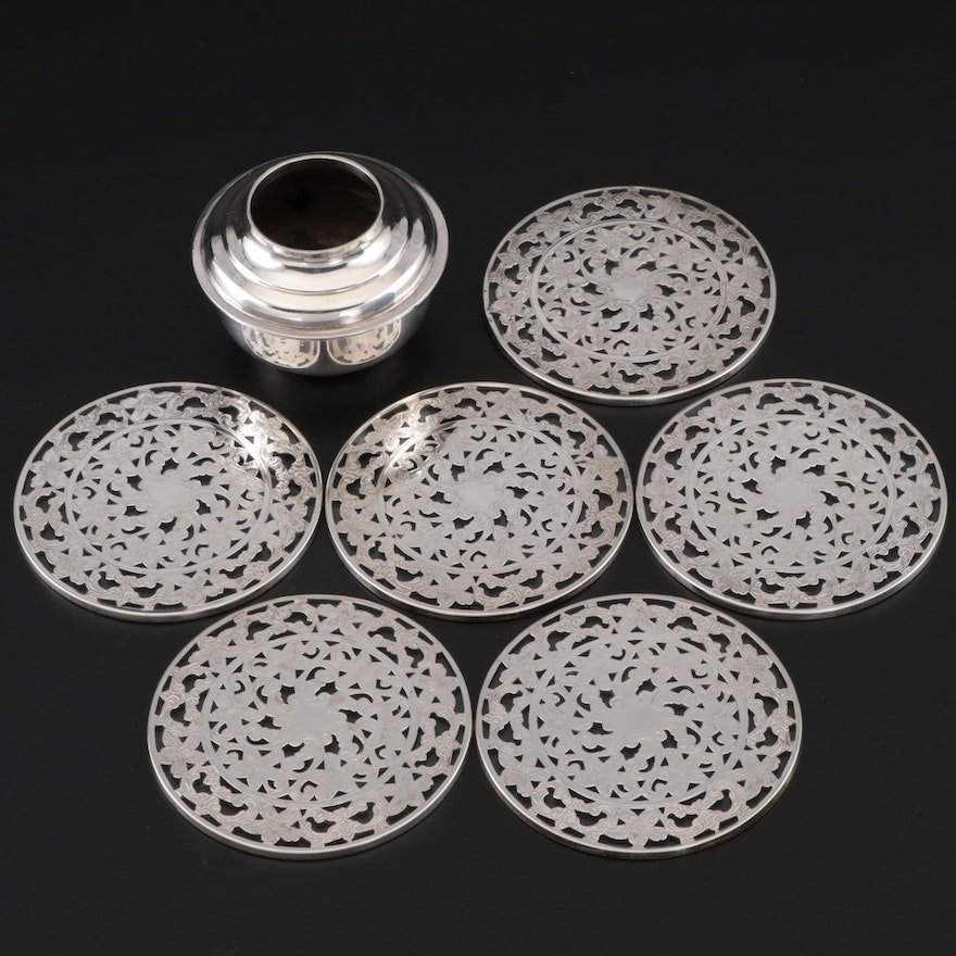 Webster Sterling Overlay Glass Coasters and Walter Morrisse Sterling Inkwell