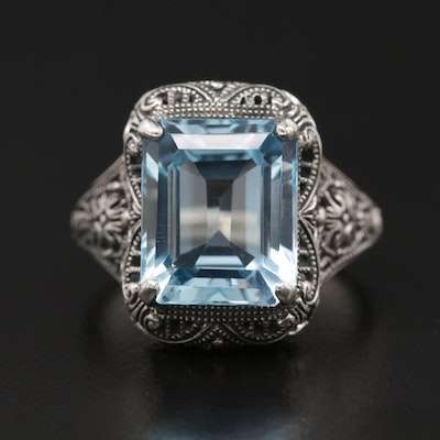 Sterling Silver BlueTopaz Openwork Ring with Milgrain Detail