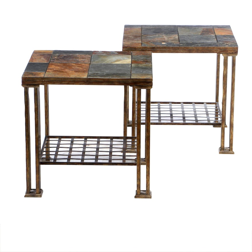 Pair of Loose-Tiled Slate and Metal End Tables, Late 20th Century