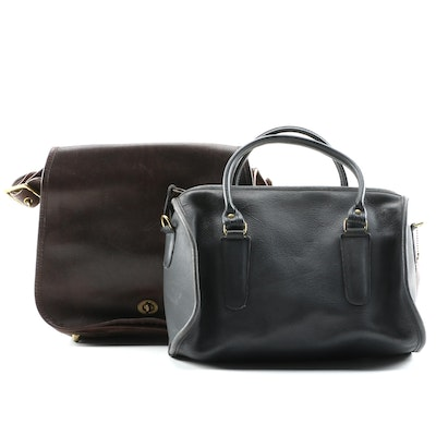 Coach Leather Boston Style Satchel and Shoulder Bag