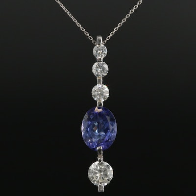 14K White Gold Tanzanite and 1.17 CTW Diamond Pendant Necklace