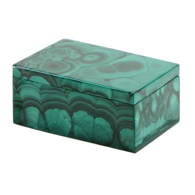 Carved Malachite Trinket Box