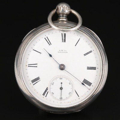 Antique Waltham Sterling Silver Open Face Pocket Watch, Circa 1882