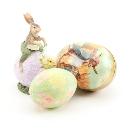 Spring and Easter Table Decor Featuring German Papier-mâché Painted Egg