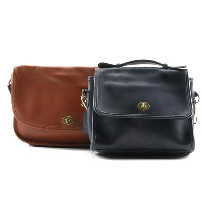 Coach Court and City Leather Front Flap Shoulder Bags