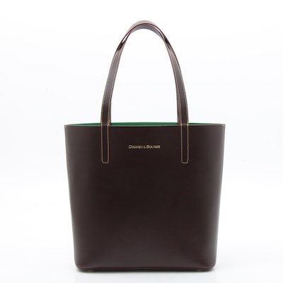 Dooney & Bourke Chestnut Leather Tote Bag with Contrast Stitching