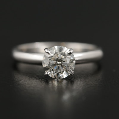 14K White Gold 1.13 CT Diamond Solitaire Ring