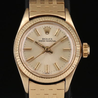 Vintage Rolex Oyster Perpetual 14K and 18K Gold Wristwatch, 1978