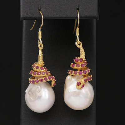 Sterling Silver, Cultured Baroque Pearl and Ruby Dangle Earrings