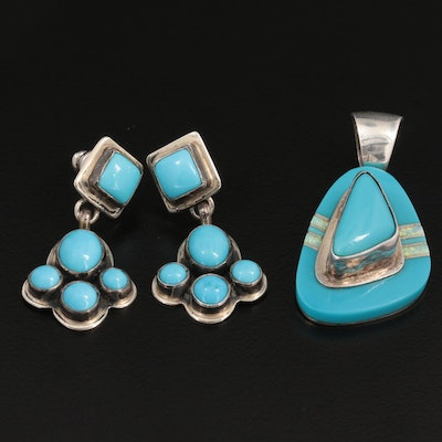 Betty Thomas Sanel and Geneva Apachito Navajo Diné Sterling Pendant and Earrings