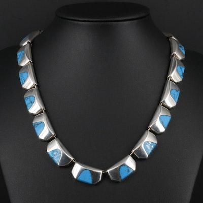 Taxco Sterling Silver Imitation Turquoise Necklace