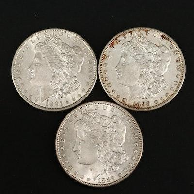 1889, 1890-S and 1891 Morgan Silver Dollars