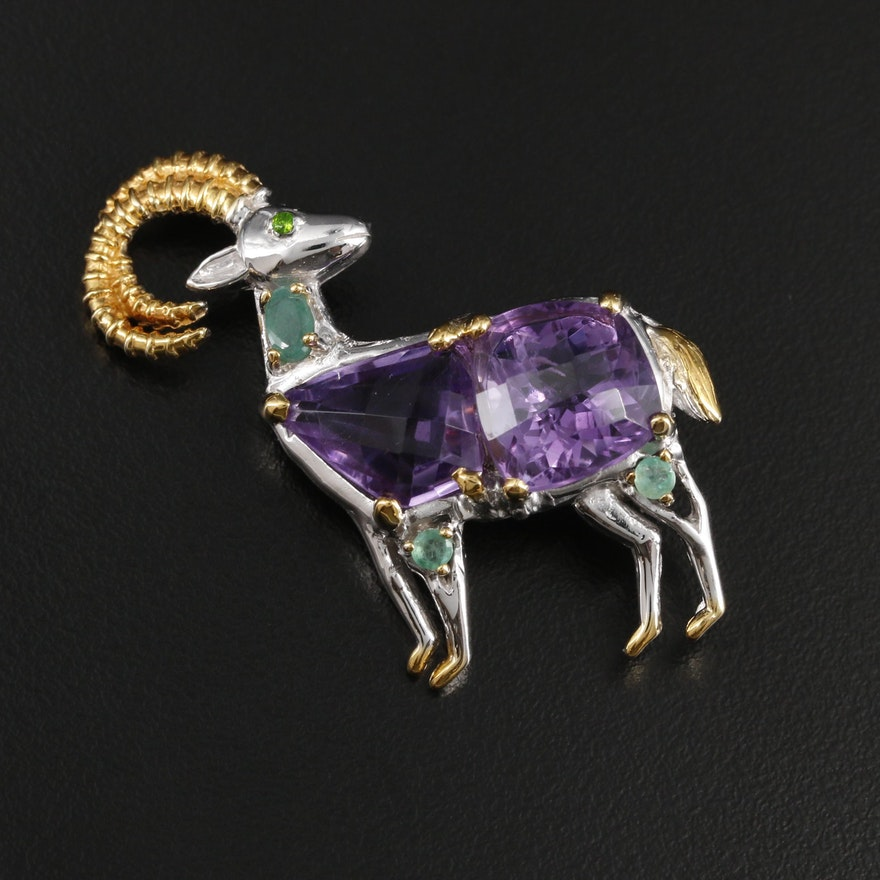 Sterling Silver Amethyst, Emerald and Diopside Ram Brooch