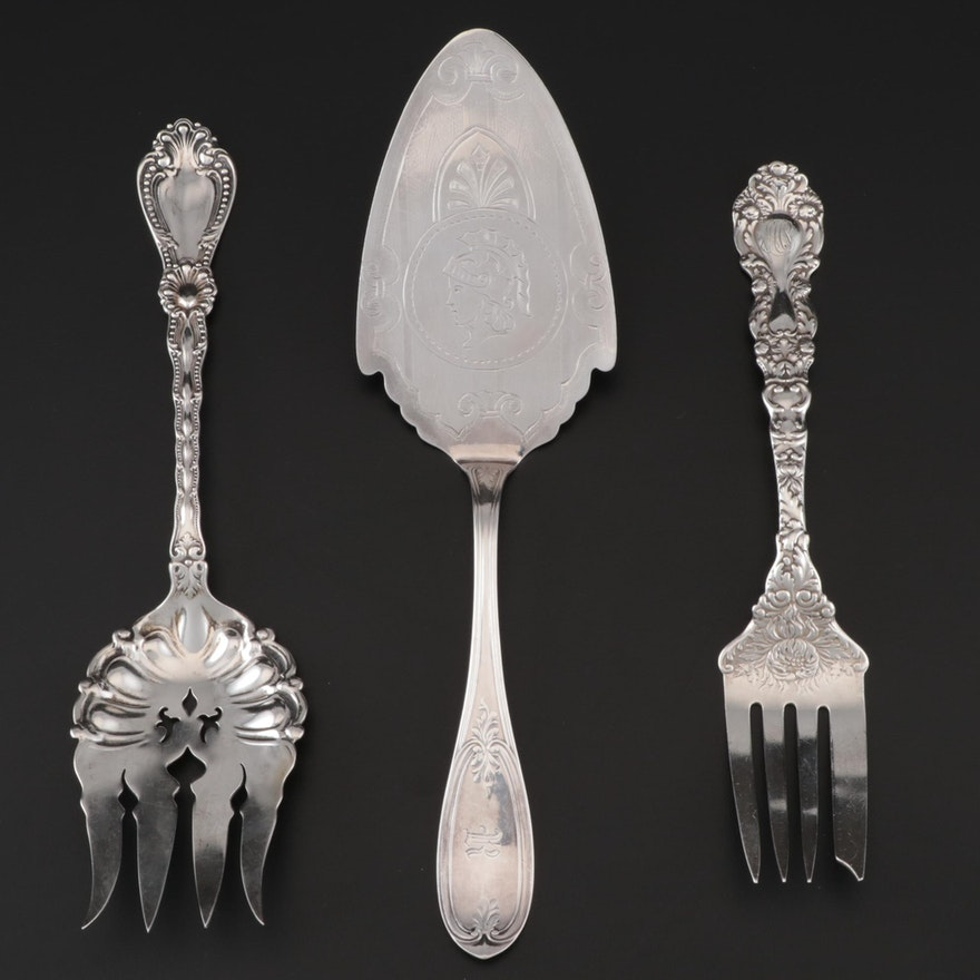Gorham and Alvin Sterling Silver Serving Forks With Silver Plate Server