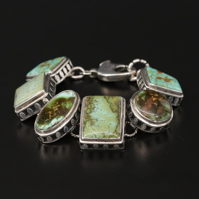 Southwestern Style Sterling Silver Turquoise Panel Bracelet