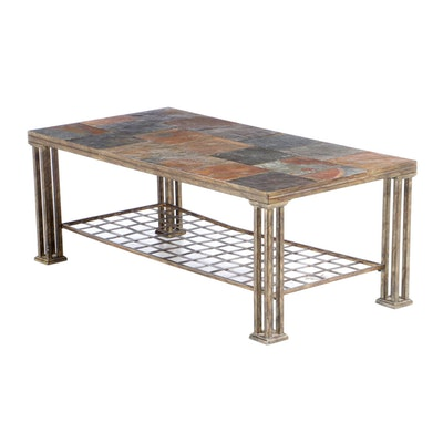 Loose-Tile Slate Metal Coffee Table, Late 20th Century