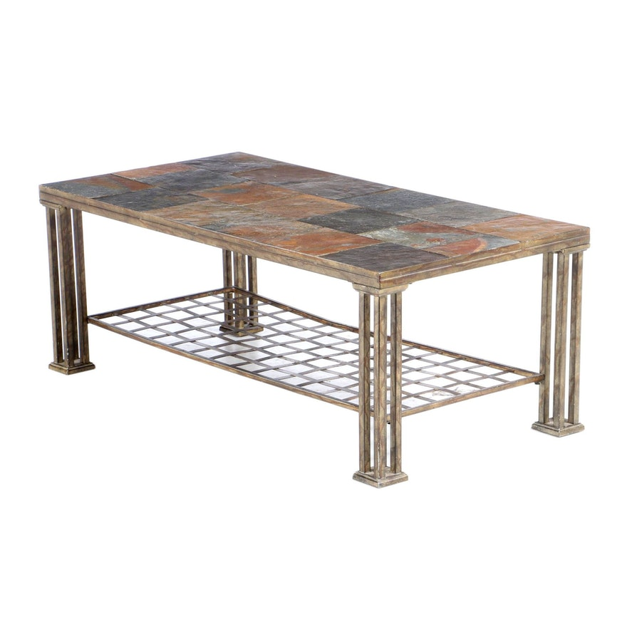 Loose-Tile Slate Metal Coffee Table, Late 20th Century
