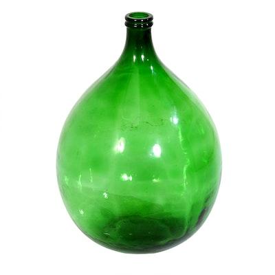 Hand-Blown Green Glass Demijohn