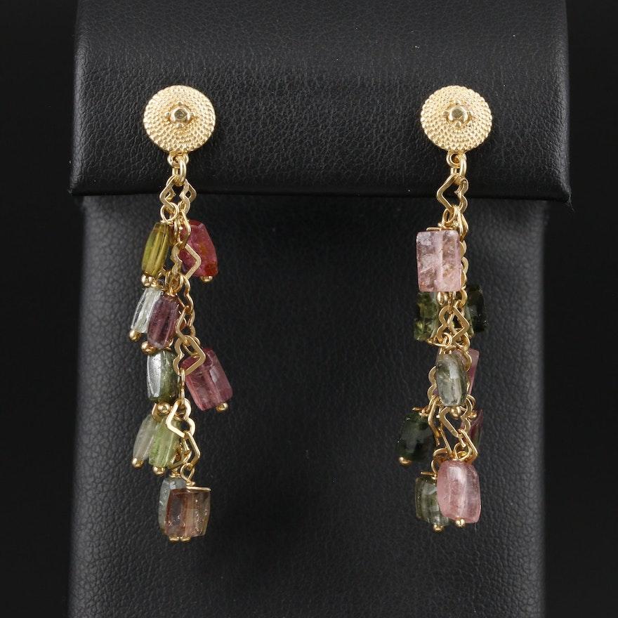 14K Yellow Gold Tourmaline Dangle Earrings