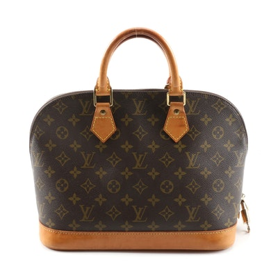 Louis Vuitton Alma MM Handbag in Monogram Canvas and Leather