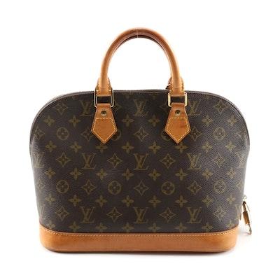 Louis Vuitton Alma MM Handbag in Monogram Canvas and Leather