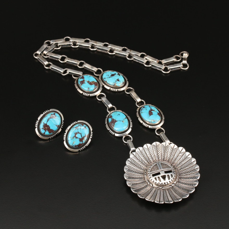 Will Denetdale Navajo Diné Sterling Silver Turquoise Necklace and Earrings