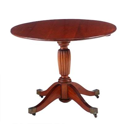 Federal Cherry Tilt-Top Table with Reeded Pedestal, Late 19th C.
