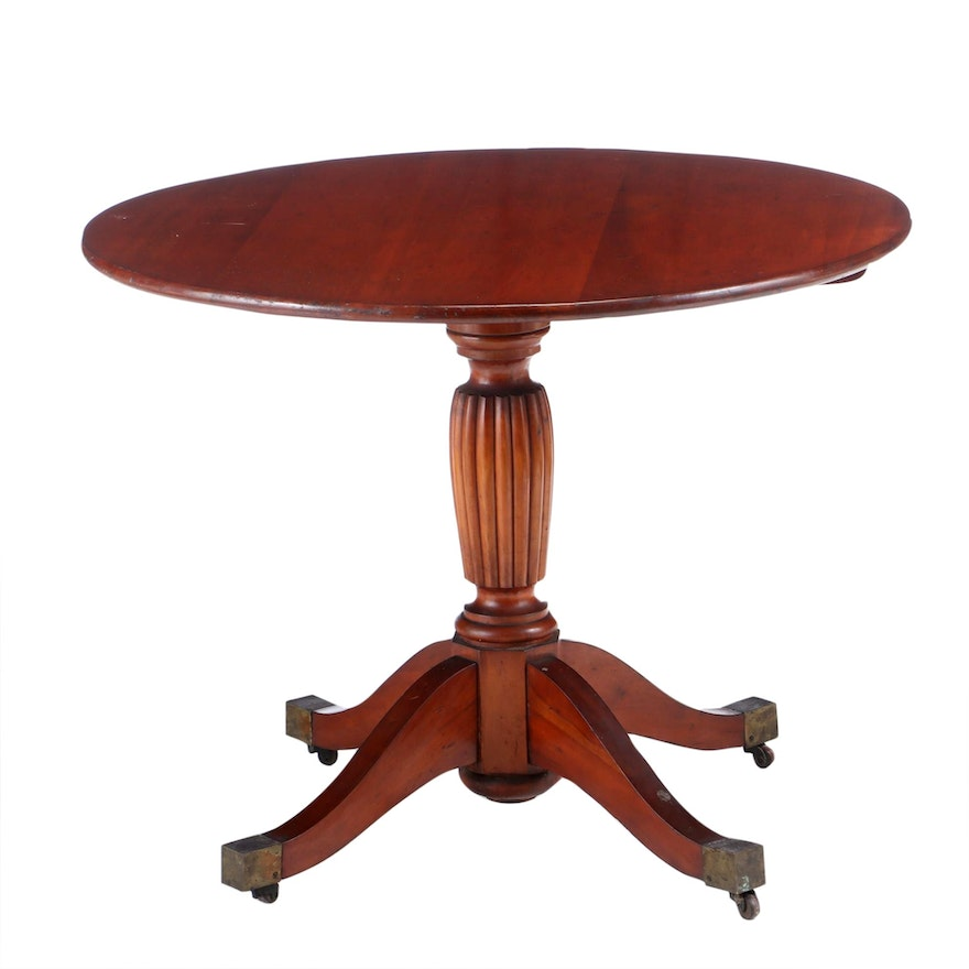 Cherry Tilt-Top Table with Reeded Pedestal, Late 19th C.