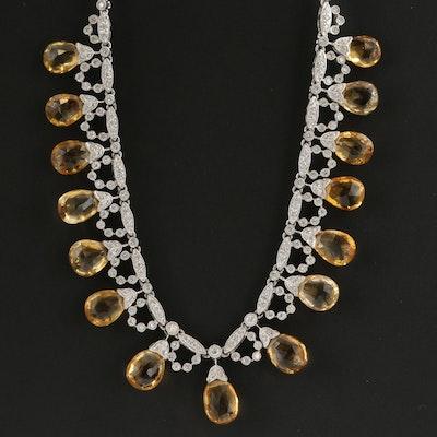 18K White Gold Citrine and 2.14 CTW Diamond Fringe Necklace
