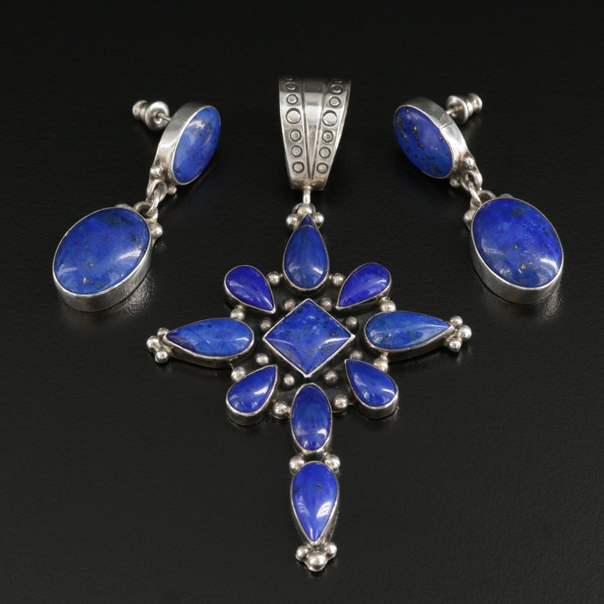 Roie Jaque Navajo Sterling Silver Lapis Lazuli Earrings and Pendant