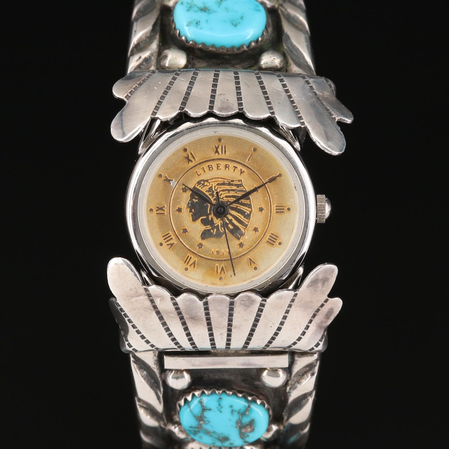 Quartz Wristwatch With Navajo Sterling Silver and Turquoise Cuff Bracelet