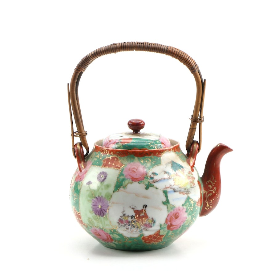 Japanese Porcelain Teapot with Bamboo Handle, Late 20th Century
