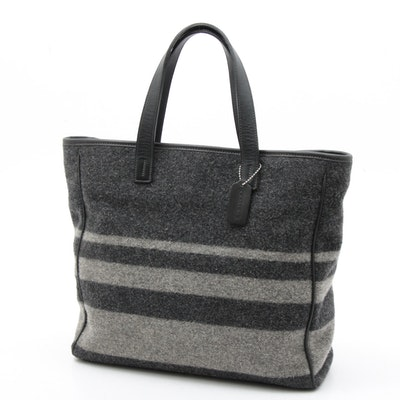 Coach Grey Wool Tote Bag with Black Leather Trim