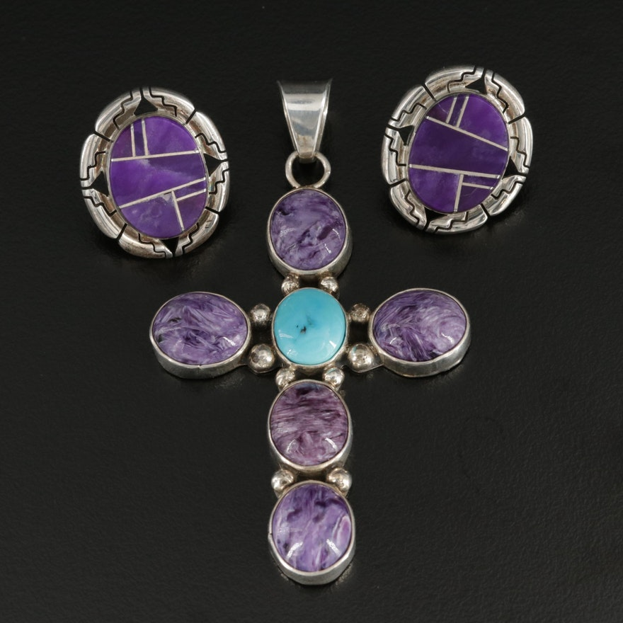 Tina Benally Navajo Sterling Silver Turquoise, Charoite and Sugilite Jewelry