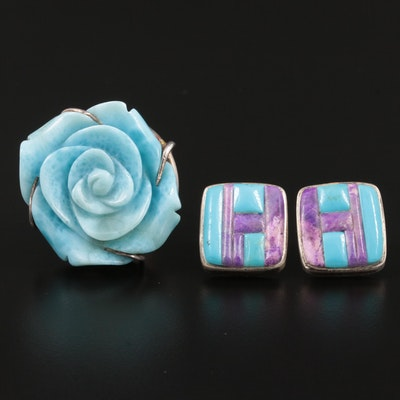 Sterling Silver Larimar, Turquoise and Sugilite Ring and Earrings