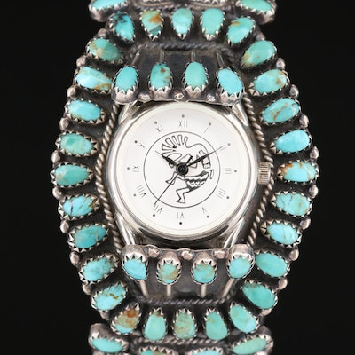 Quartz Wristwatch with Brian Brown Navajo Diné Sterling and Turquoise Bracelet