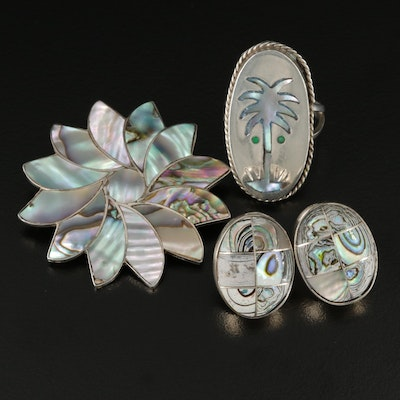 Mexican Sterling Silver Abalone and Glass Earrings, Pendant and Ring