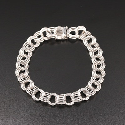 14K White Gold Triple Link Bracelet